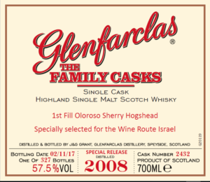 Glenfarclas 2008 family casks – Israel Exclusive cask # 2432